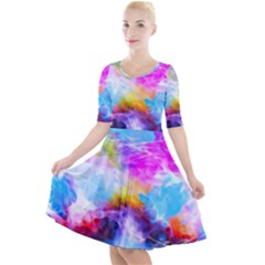 Background Drips Fluid Colorful Quarter Sleeve A-line Dress by Sapixe