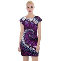 Fractal Background Swirl Art Skull Cap Sleeve Bodycon Dress