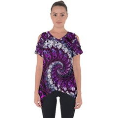 Fractal Background Swirl Art Skull Cut Out Side Drop Tee by Sapixe