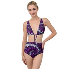 Fractal Background Swirl Art Skull Tied Up Two Piece Swimsuit