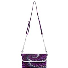 Fractal Background Swirl Art Skull Mini Crossbody Handbag by Sapixe