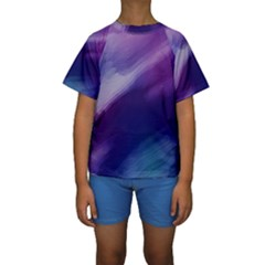 Purple Background Art Abstract Watercolor Kids  Short Sleeve Swimwear by Sapixe