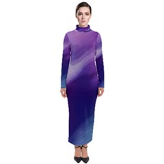 Purple Background Art Abstract Watercolor Turtleneck Maxi Dress