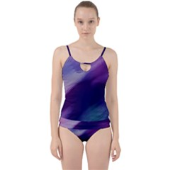 Purple Background Art Abstract Watercolor Cut Out Top Tankini Set