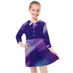 Purple Background Art Abstract Watercolor Kids  Quarter Sleeve Shirt Dress