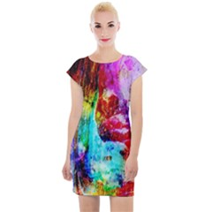 Background Art Abstract Watercolor Cap Sleeve Bodycon Dress