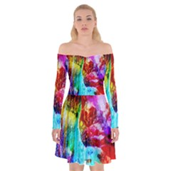 Background Art Abstract Watercolor Off Shoulder Skater Dress