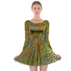 Art 3d Windows Modeling Dimension Long Sleeve Skater Dress