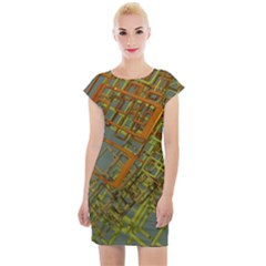 Art 3d Windows Modeling Dimension Cap Sleeve Bodycon Dress