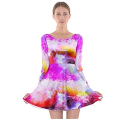 Background Drips Fluid Colorful Long Sleeve Skater Dress by Sapixe