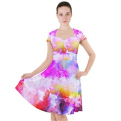 Background Drips Fluid Colorful Cap Sleeve Midi Dress
