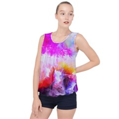 Background Drips Fluid Colorful Bubble Hem Chiffon Tank Top