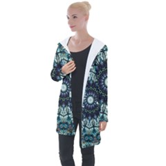 Pattern Abstract Background Art Longline Hooded Cardigan