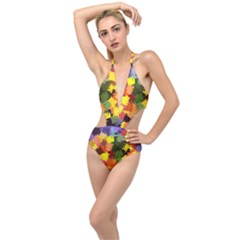Mural Murals Graffiti Texture Plunging Cut Out Swimsuit by Sapixe