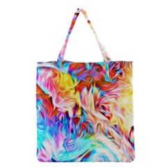 Background Drips Fluid Colorful Grocery Tote Bag