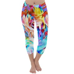 Background Drips Fluid Colorful Capri Winter Leggings