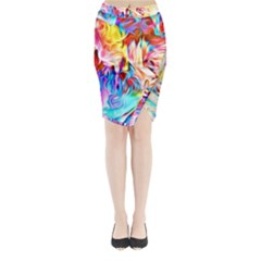 Background Drips Fluid Colorful Midi Wrap Pencil Skirt