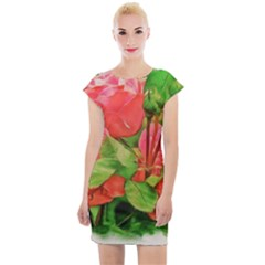 Figure Watercolor Art Nature Cap Sleeve Bodycon Dress
