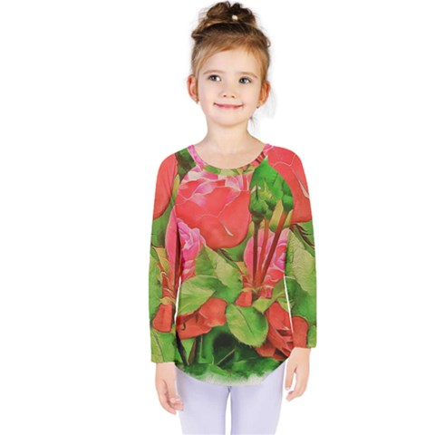 Figure Watercolor Art Nature Kids  Long Sleeve Tee by Sapixe