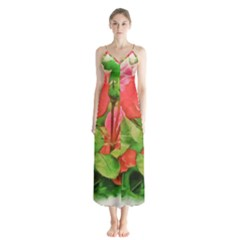 Figure Watercolor Art Nature Button Up Chiffon Maxi Dress