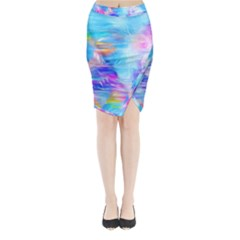Background Drips Fluid Colorful Midi Wrap Pencil Skirt by Sapixe