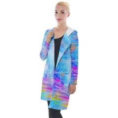 Background Drips Fluid Colorful Hooded Pocket Cardigan