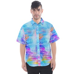 Background Drips Fluid Colorful Men s Short Sleeve Shirt