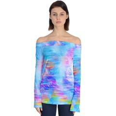 Background Drips Fluid Colorful Off Shoulder Long Sleeve Top