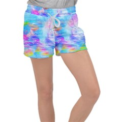 Background Drips Fluid Colorful Women s Velour Lounge Shorts