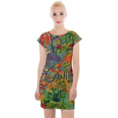 Dubai Hotel Art Cap Sleeve Bodycon Dress