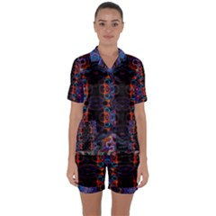 Kaleidoscope Art Pattern Ornament Satin Short Sleeve Pyjamas Set by Sapixe