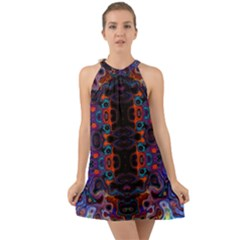 Kaleidoscope Art Pattern Ornament Halter Tie Back Chiffon Dress by Sapixe