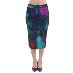 Background Art Abstract Watercolor Velvet Midi Pencil Skirt