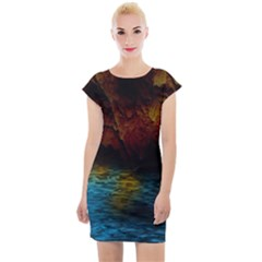 Background Cave Art Abstract Cap Sleeve Bodycon Dress
