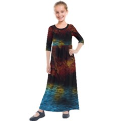 Background Cave Art Abstract Kids  Quarter Sleeve Maxi Dress