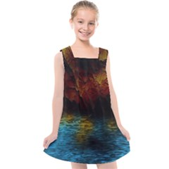 Background Cave Art Abstract Kids  Cross Back Dress