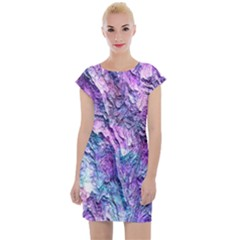 Background Peel Art Abstract Cap Sleeve Bodycon Dress