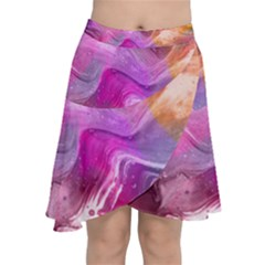Background Art Abstract Watercolor Chiffon Wrap Front Skirt