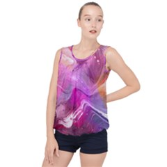 Background Art Abstract Watercolor Bubble Hem Chiffon Tank Top