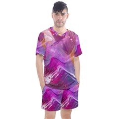 Background Art Abstract Watercolor Men s Mesh Tee And Shorts Set