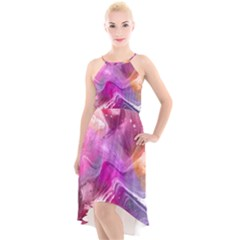 Background Art Abstract Watercolor High Low Halter Chiffon Dress