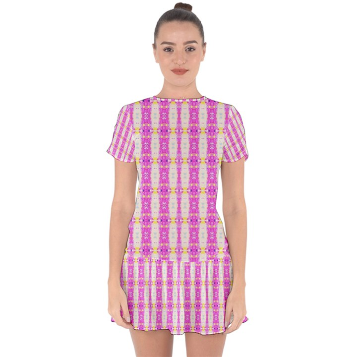 Equixbars Drop Hem Mini Chiffon Dress