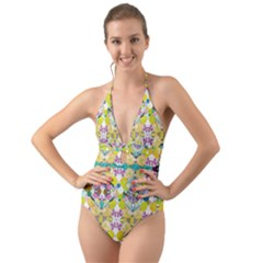 Chateau Jardin  Halter Cut Out One Piece Swimsuit