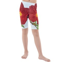 Deep Plumb Blossom Kids  Mid Length Swim Shorts by lwdstudio