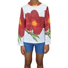 Deep Plumb Blossom Kids  Long Sleeve Swimwear