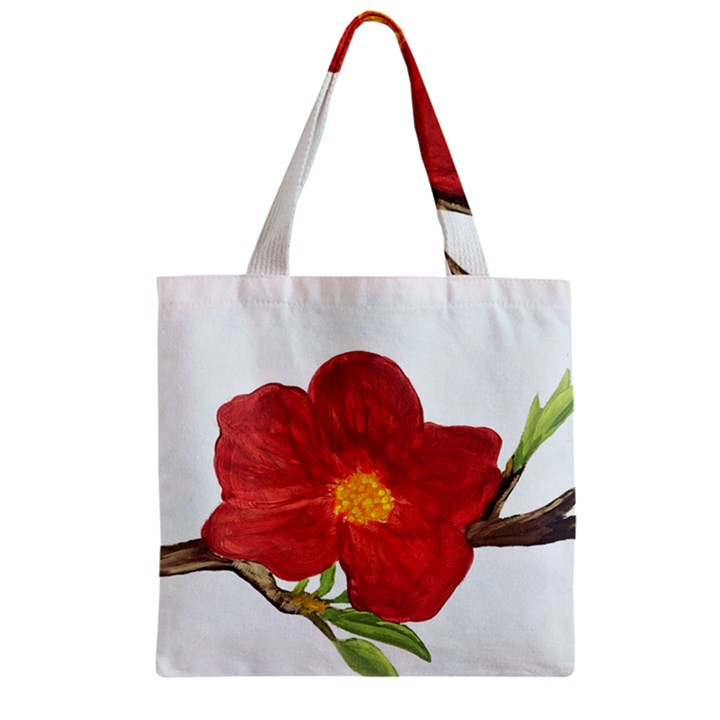 Deep Plumb Blossom Zipper Grocery Tote Bag