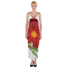 Deep Plumb Blossom Fitted Maxi Dress