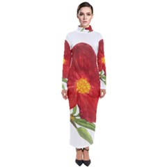 Deep Plumb Blossom Turtleneck Maxi Dress