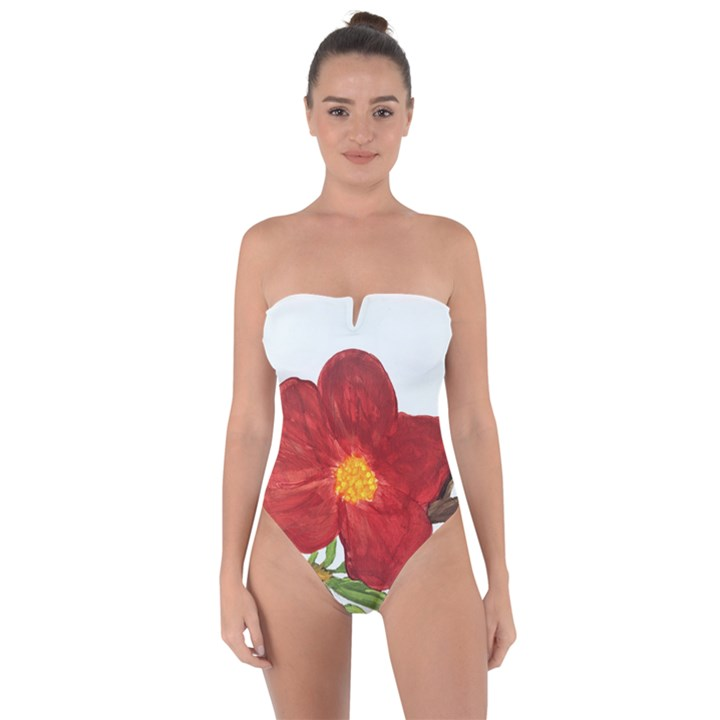 Deep Plumb Blossom Tie Back One Piece Swimsuit