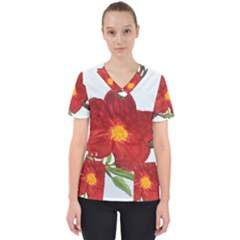 Deep Plumb Blossom Women s V Neck Scrub Top